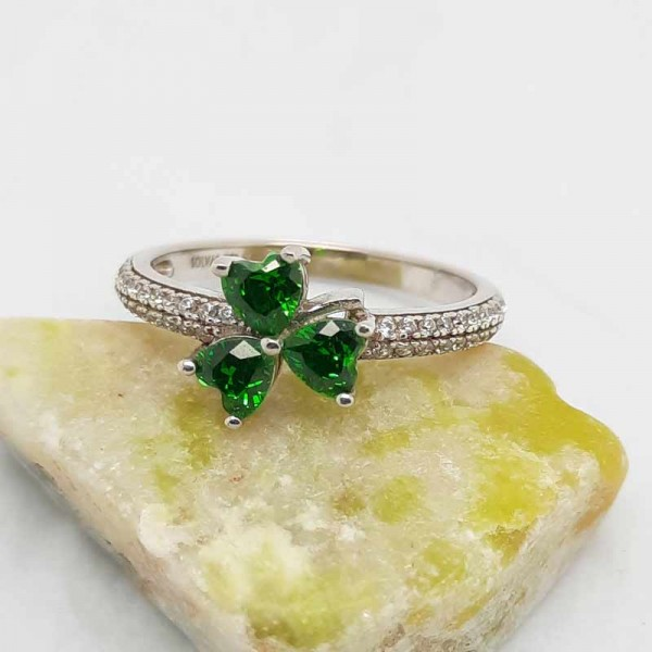 Irish Silver Shamrock Ring with Green CZ