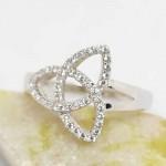 Irish Silver Trinity Knot Ring - White CZ