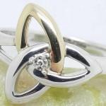 Irish Silver Trinity Ring with 10K Gold and Diamond
