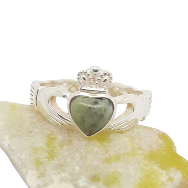 Irish Silver Claddagh Ring with Connemara Marble