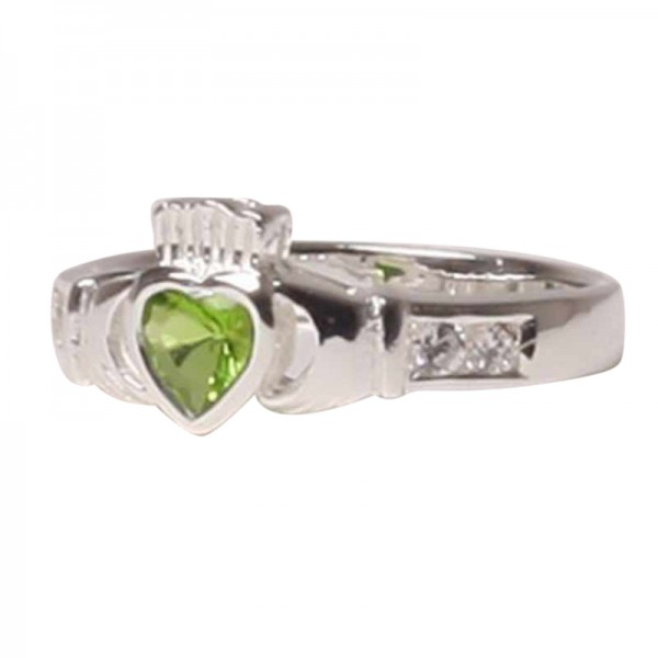 claddagh ring august birthstone silver and peridot