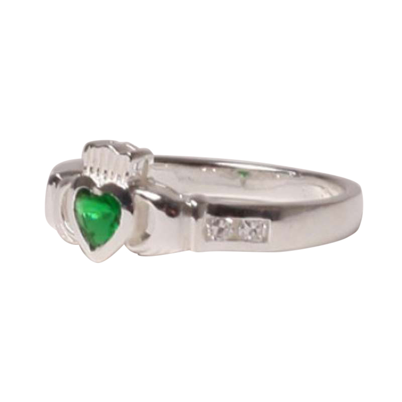 claddagh ring with may birthstone silver with cz emerald