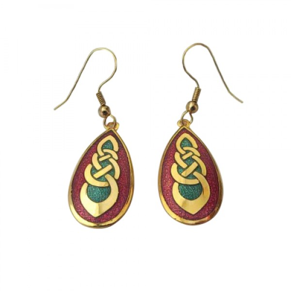 Celtic Earrings - Red and Green - Celtic Knots