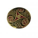 Celtic Spiral Brooch - Black and Red Triskelle
