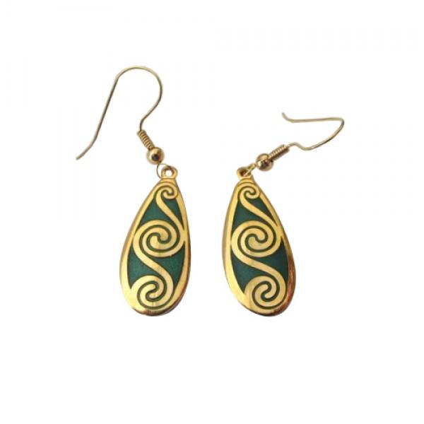 Celtic Earrings - Enamelled Green Spirals