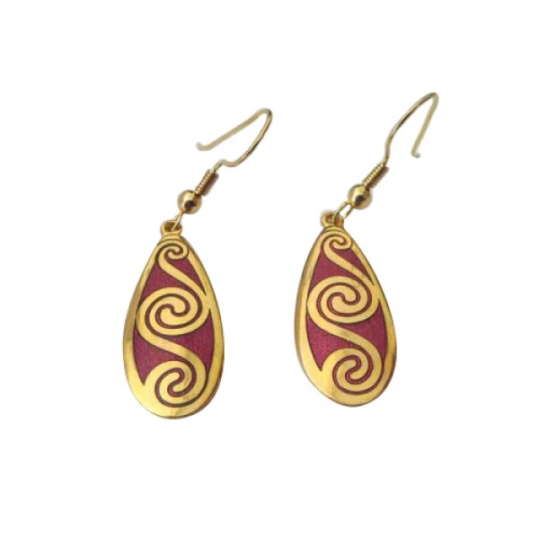 Celtic Earrings - Enamelled Red Spirals