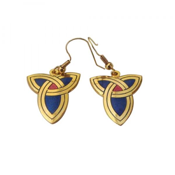 Celtic Earrings - Trinity Knot Enamelled Blue