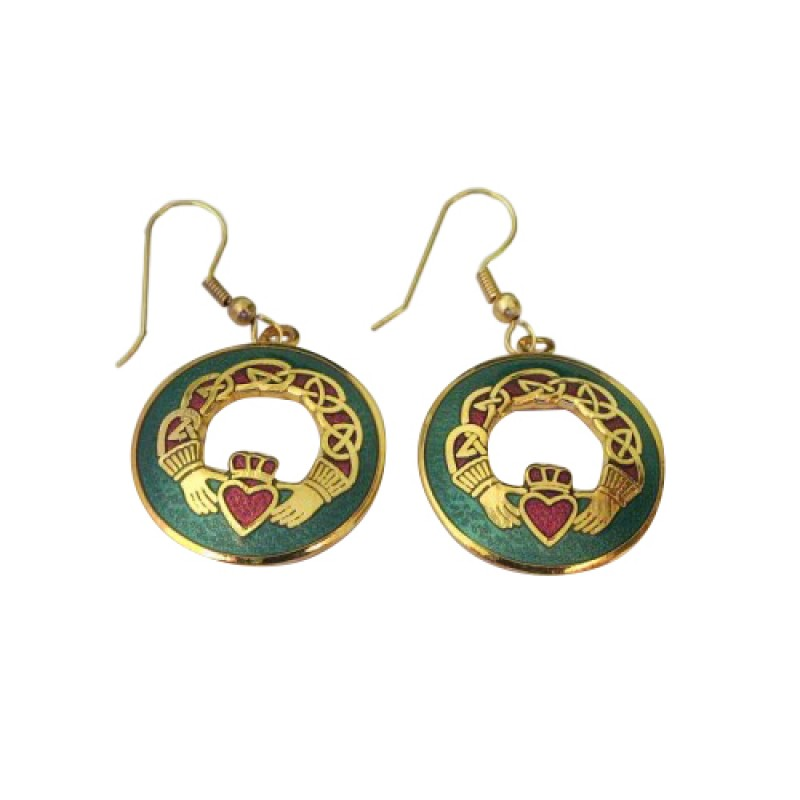Irish Claddagh Earrings Green And Red Enamel Occasions