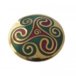Irish Celtic Brooch - Enamel Triskel Triskelle
