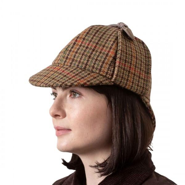 Deerstalker Sherlock Holmes Hat - Brown Houndstooth Tweed