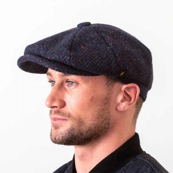 Donegal Tweed Newsboy Cap - Navy Herringbone - Scholar