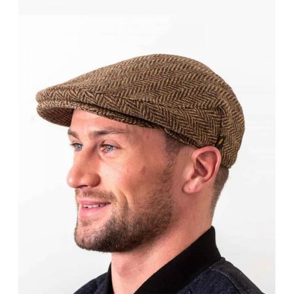 Donegal Tweed Flat Cap - Brown Herringbone