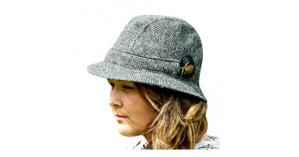 Donegal Tweed Trilby Hat - Green Herringbone - Irish Hat d3afa617fcb