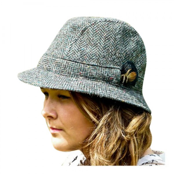 Donegal Tweed Trilby Hat - Green Herringbone Hats | Caps | Clothing