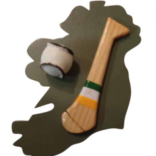 Hurling Fridge Magnet - Ireland - Green, White and Gold