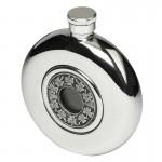 Irish Round Hip Flask with Glass - Shamrock 5oz