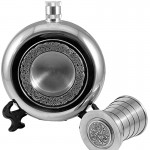 Irish Round Hip Flask with Cup - Celtic