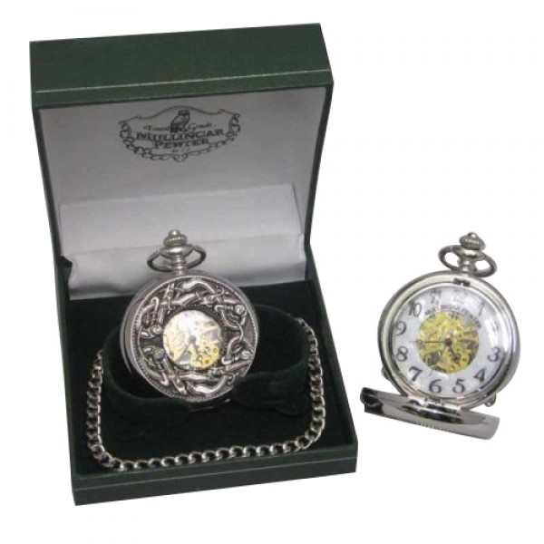 Mechanical Pocket Watch - Book of Kells Design - Mullingar Pewter