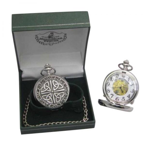 Mechanical Pocket Watch - Trinity Knots - Mullingar Pewter