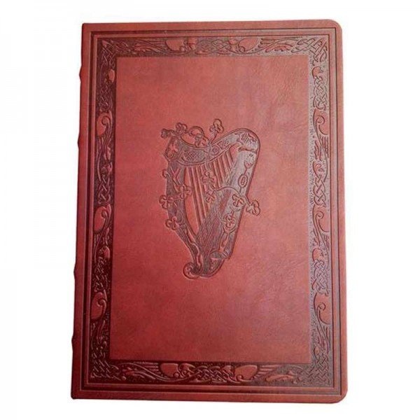Irish Leather Effect Journal - Embossed Harp - Large Pens & Bookmarkers