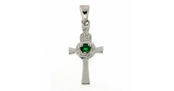 Celtic Cross Pendant Sterling Silver With Green Stone