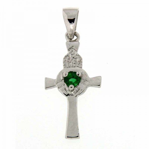 Celtic Cross Pendant Necklace - Sterling Silver Green Stone