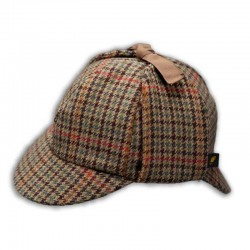 Deerstalker Sherlock Holmes Hat - Brown Houndstooth Tweed
