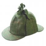 Deerstalker Sherlock Holmes Hat - Green Check Tweed