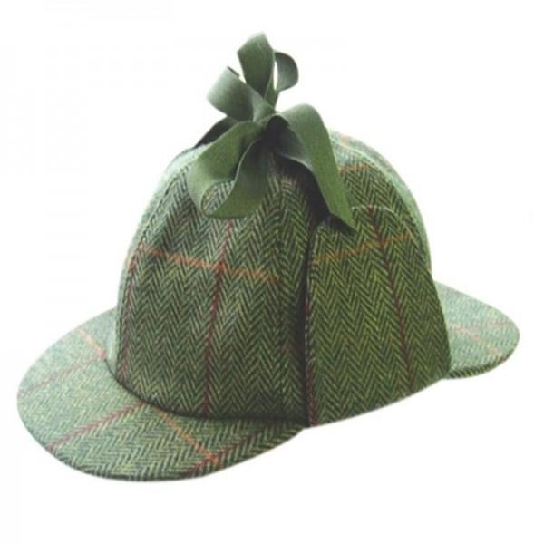 Deerstalker Sherlock Holmes Hat - Green Check Tweed Hats | Caps | Clothing