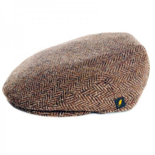 Donegal Tweed Flat Cap - Brown Herringbone