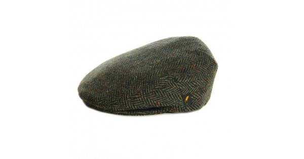 463c6947cd4 Donegal Tweed Flat Cap - Dark Green Herringbone