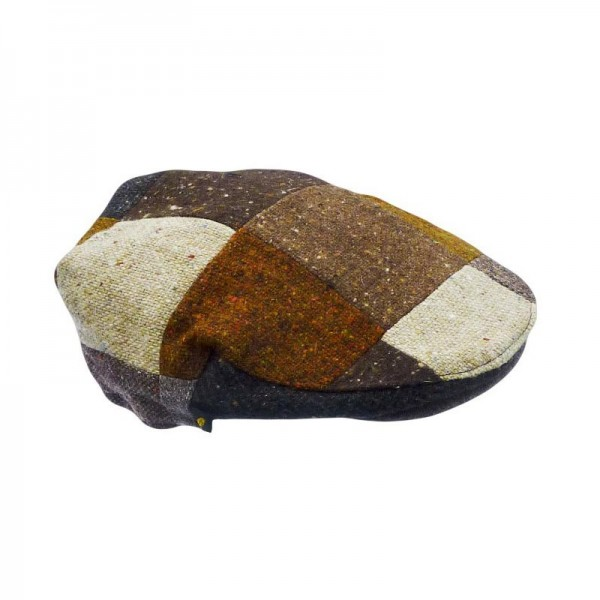 Donegal Tweed Flat Cap - Patchwork Brown Tones