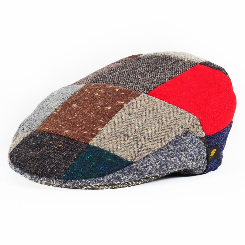 38b8f5d4af7 Donegal Tweed Flat Cap - Patchwork Red Patch Hats