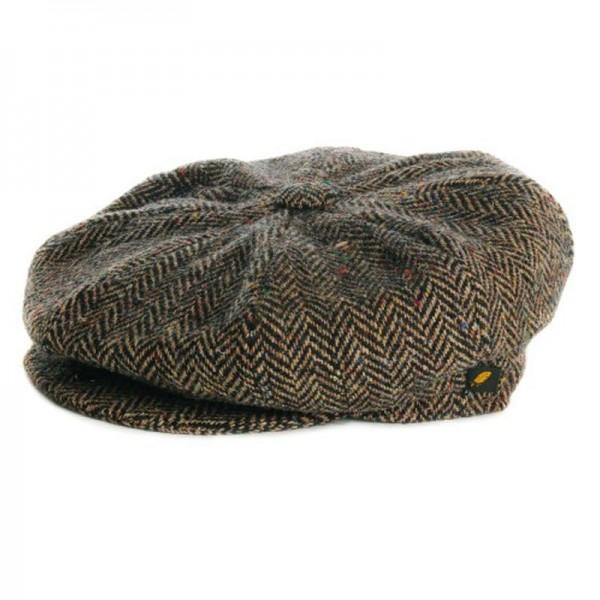 Donegal Tweed Newsboy 8 Panel Cap - Mid Brown Herringbone