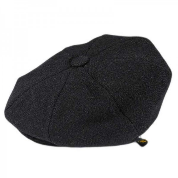 Donegal Tweed Newsboy 8 Panel Cap - Solid Black