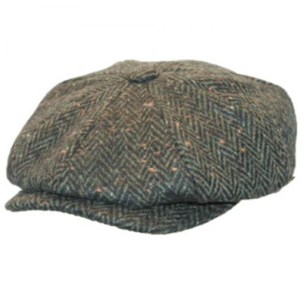Donegal Tweed Newsboy Cap - Green Herringbone - Scholar