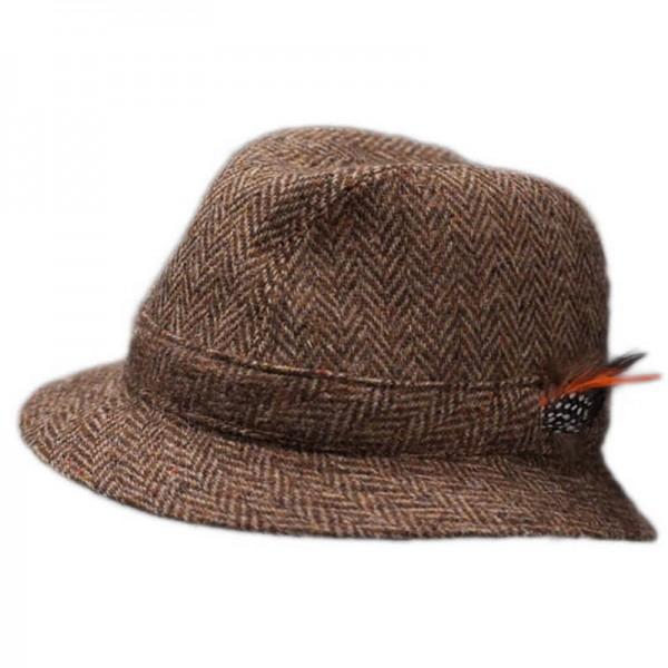 Donegal Tweed Trilby Hat - Brown Herringbone Hats | Caps | Clothing