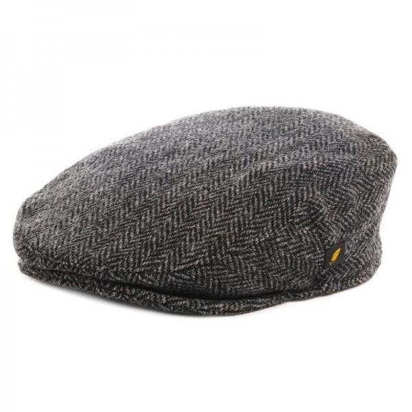 Harris Tweed Flat Cap - Dark Grey Herringbone