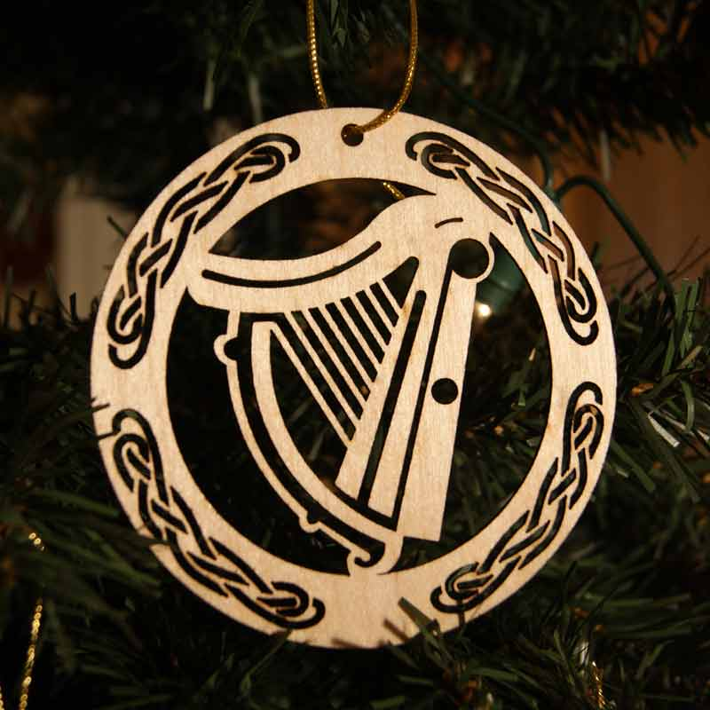 irish made wooden christmas ornament harp occasions