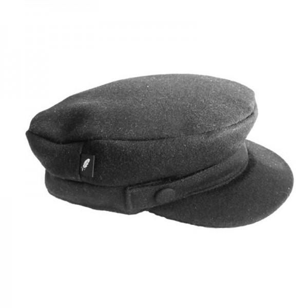 Melton Skipper Cap - Black Milled Wool