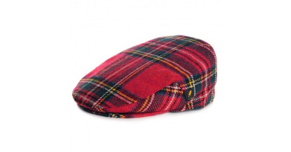 Tartan Plaid Flat Cap - Royal Stewart Brushed Wool
