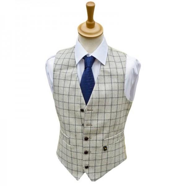 Tweed Waistcoat  - Cream with Grey Windowframes Hats | Caps | Clothing